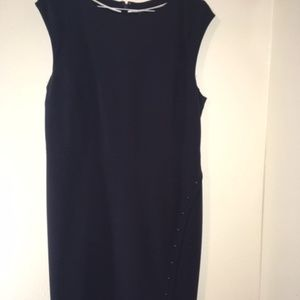 Navy Sheath Dress with Button Detail